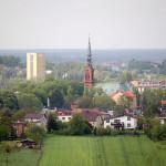 Miasto Rydułtowy widok na szyb, kościół